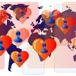 World map with persons in love. International love — Stock Vector