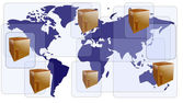 World map with boxes for international shipment — Stock Vector