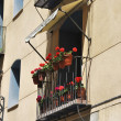Balcony whit geraniums — Stock Photo