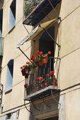 Balkon whit geraniums — Stockfoto