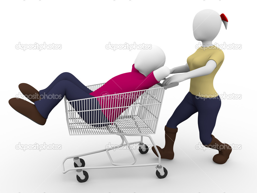 A woman carries a lazy man in a shopping cart. Faint concept — Stock Photo #10559620