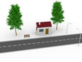 Casa cerca de la carretera — Foto de Stock