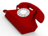 Old telephone in red — Foto Stock