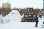 Work in snow ciny — Stock Photo