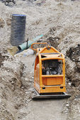 Construction Site With Compactor — Stock Photo