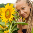 Beautiful girl with dreadlocks — Stock Photo