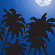 Vector palm trees against the night sky - Stock Photo
