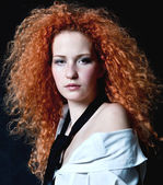 The young beautiful girl with the dismissed red hair — Stock Photo