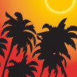 Stock Photo: Vector palm trees against rising sun