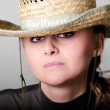 The girl in a sombrero — Stock Photo