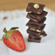 Stock Photo: Ripe strawberry with chocolate