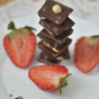 Ripe strawberry with chocolate — Stock Photo