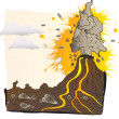 Volcano erupts — Stock Vector