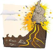 Volcan entre en éruption — Vecteur