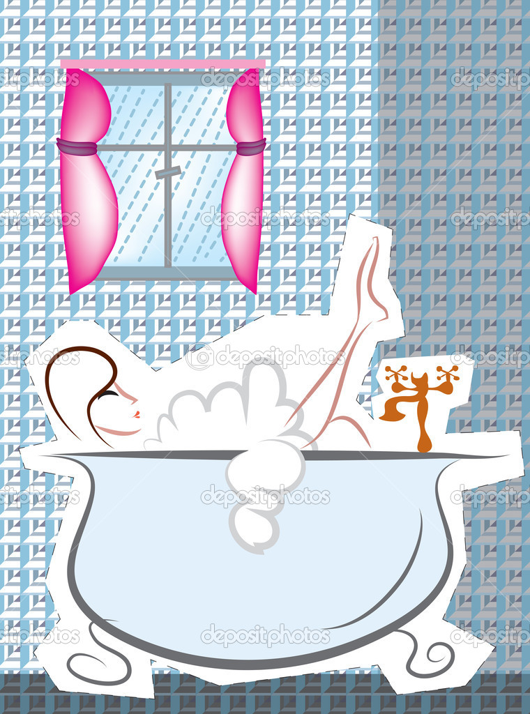 Girl in bath — Stock Vector #9658716