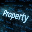 Pixeled word Property on digital screen — Foto de Stock