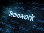Pixeled word Teamwork on digital screen — Stock Photo