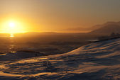 Golden sunset in Antarctica. — Photo