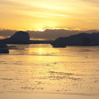 Stock Photo: Sunset Yellow in Antarctic.