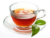 Cup of black, strong tea — Stock Photo
