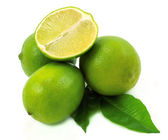 Lime with green leaf — Stock Photo
