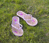 Pair of sandals on grass — Stock Photo