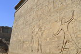 Hieroglyphic carvings on an egyptian temple wall — Stockfoto