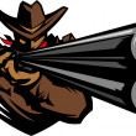 Cowboy Mascot Aiming Shotgun Vector Illustration — Stock Vector