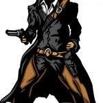 Cowboy Mascot Aiming Gun Vector Illustration — Stock Vector