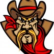 Cowboy Mascot Head Vector Illustration - Stock Vector