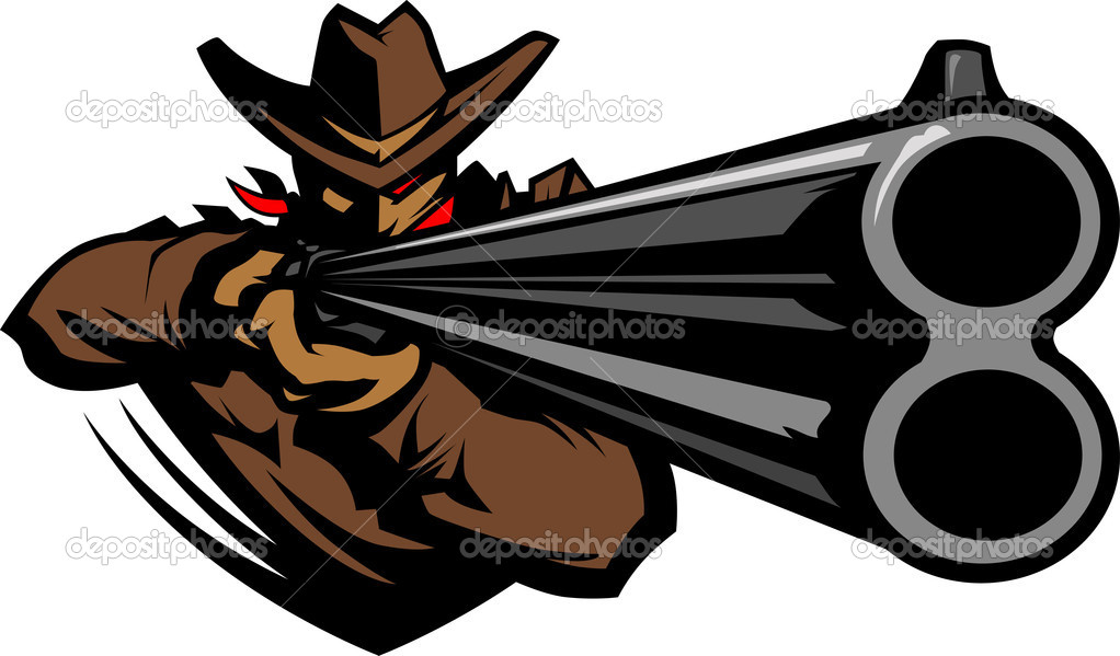 Graphic Mascot Vector Image of a Cowboy Shooting a Rifle — Stock Vector #8201115