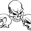 Skulls Group with Graphic Vector Images — Stock Vector
