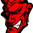Demon Devil Mascot Head Vector Illustration — Stock Vector