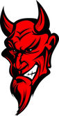 Demon Devil Mascot Head Vector Illustration — Vettoriale Stock