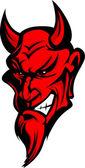 şeytan şeytan maskot kafa illüstrasyon vektör — Stok Vektör