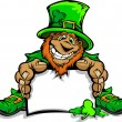 Smiling St. Patricks Day Leprechaun Holding Sign — Stock Vector