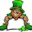 Stock Vector: Smiling St. Patricks Day Leprechaun Holding Sign