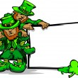 St. Patricks Day Leprechauns Holding Sign — ベクター素材ストック