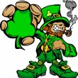 Smiling St. Patricks Day Leprechaun Holding Shamrock Clover — Stock Vector