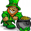 Royalty-Free Stock Vector Image: Smiling St. Patricks Day Leprechaun with Pot of Gold
