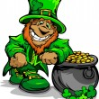 Smiling St. Patricks Day Leprechaun with Pot of Gold — Stock Vector