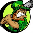 St. Patricks Day Leprechaun Holding Baseball Bat — Stok Vektör