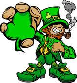 Smiling St. Patricks Day Leprechaun Holding Shamrock Clover — Stock Vector