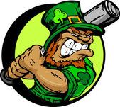 St. Patricks Day Leprechaun Holding Baseball Bat — Stock Vector