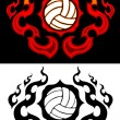 Volleyball with Flaming Border Tattoo Vector Illustration — Imagen vectorial