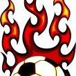 Royalty-Free Stock Vector Image: Soccer Flaming Ball Vector Illustration