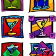 Martini Glasses Vector Image Icons — Stock Vector