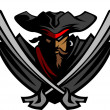 Постер, плакат: Pirate Mascot with Swords and Hat Graphic Vector Illustration