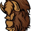 Buffalo Bison Mascot Head Cartoon — Stock Vector