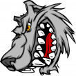 Wolf Mascot Vector Cartoon with Snarling Face - Stock Vector